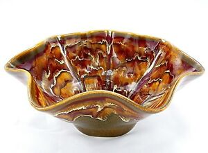 """Fluted Bowl 10.5"""" Studio Art Pottery Drip Glaze Red Brown Cream Stoneware Signed"""