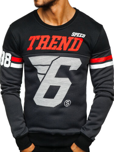 Sweatshirt Langarmshirt Pullover Rundhals Aufdruck Print Herren BOLF 1A1 Motiv