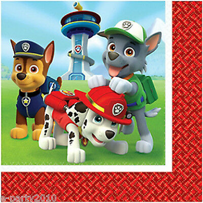 PAW PATROL LUNCH NAPKINS (16) ~ Birthday Party Supplies Dinner Large Chase Alex
