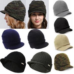 Men Outdoor Visor Beanie Military Peaked Cap Hat Knit Ski Hunting Army Warm Hat