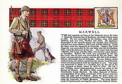 Print SCOTTISH Clan MAXWELL History Genealogy Coat of Arms Tartan Gift Matted