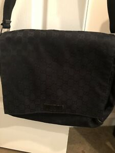 96d07c3788b9 Image is loading Authentic-GUCCI-Black-GG-Monogram-Canvas-MESSENGER-BAG-