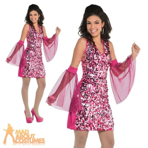Adult Ladies 1970s Sequin Dress Costume Pink Groovy Disco Fancy Dress Outfit