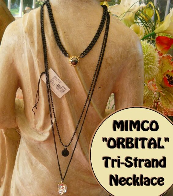 ca93a21138df MIMCO ORBITAL TRIPLE STRAND TRI NECKLACE MIMCO BLACK   PEWTER rrp  199 now   110
