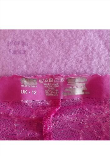 raspberry 8 10 12 14 Ex Store briefs knicker bonded shorts lace black grape