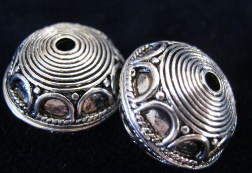 2 x Spacer 18x13mm Metallperlen Rondell Farbe antiksilber #S205