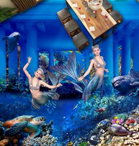 3D Sea Castle Girl 733 Floor WallPaper Murals Wall Print Decal AJ WALLPAPER US
