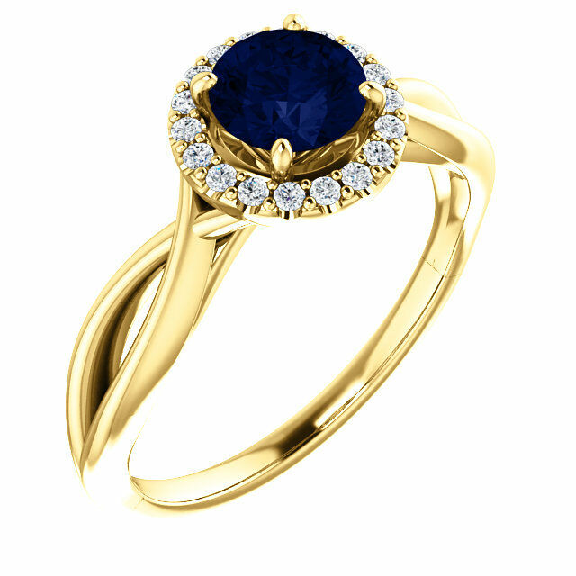 bluee Sapphire Chatham® Lab Gem & Diamonds Ring 14K. Yellow or White or pink gold