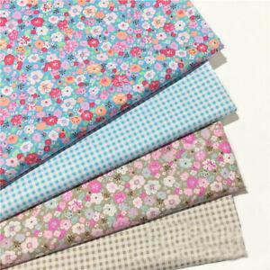 Blau-Blumig-Strip-Twill-Stoff-Patchwork-100-Baumwolle-Kissen-Quilting-Kleidung