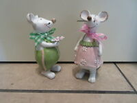 Beautiful Resin Mice Mouse Easter Spring Figurine Set-2 Girl /boy Deco