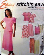 EZ McCALLS 4343 Misses/Miss Petite WARDROBE Pattern Tops Pants Skirt Sz 8-14 UC