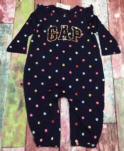 Baby-Gap-Girls-0-3-Months-Navy-Blue-amp-Bright-Polka-Dot-Romper-Jumpsuit-Nwt