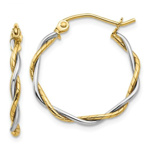 1.8 mm Twisted Hoop Earrings in Genuine 14k Two-Tone Gold 14 to 21mm