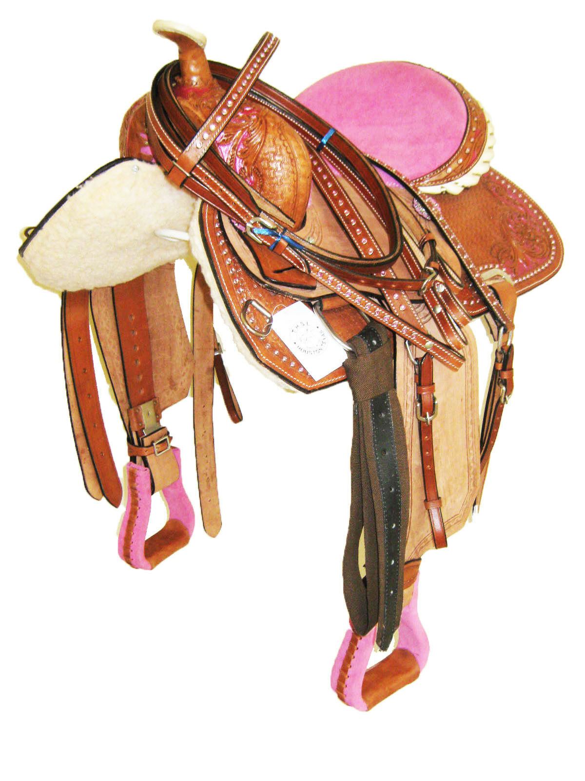 THSL  WESTERN BARREL SADDLE SET  PINK SEAT PAINT RHINESTONE 15  (10110PK) NEW  counter genuine
