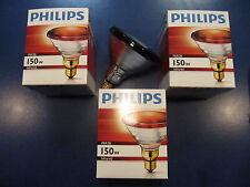 3X Philips PAR38 IR Red 150W 230V E27 Infrarotlampe Wärmelampe Infrarot Strahler