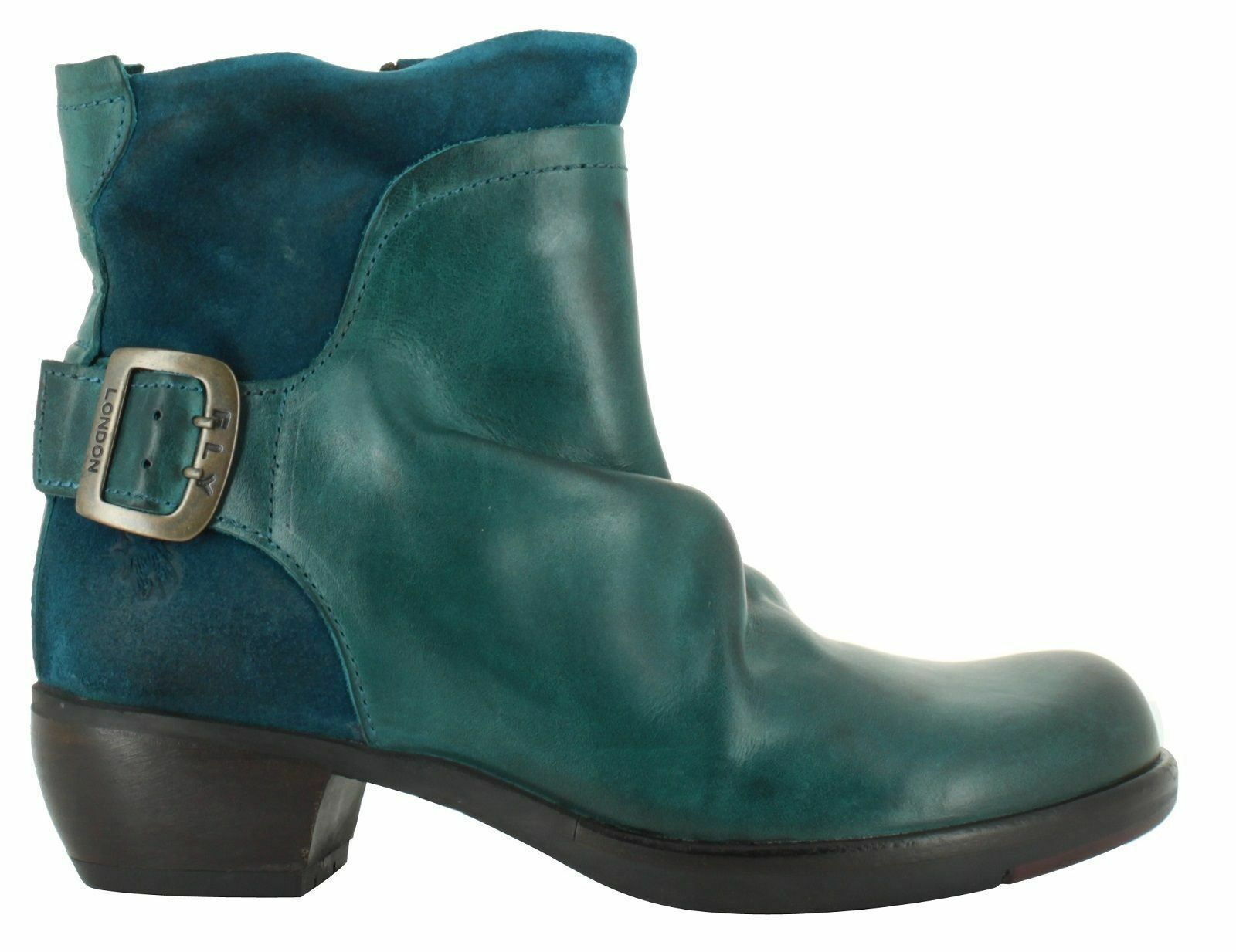 FLY LONDON MEL RUG LEATHER & SUEDE PETROL GREEN ANKLE Stiefel UK 4 EUR 37