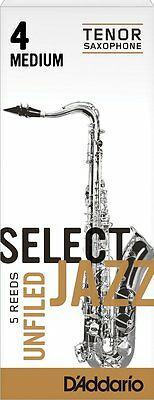 1 Box of 5 D'Addario/Rico Select Jazz Reeds Unfiled. Tenor Saxophone 4-Medium/4M