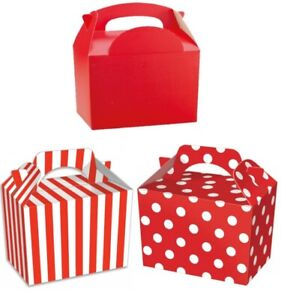 Details About Childrens Red Party Food Boxes Birthday Lunch Snack Meal Bag Plate Gift Box