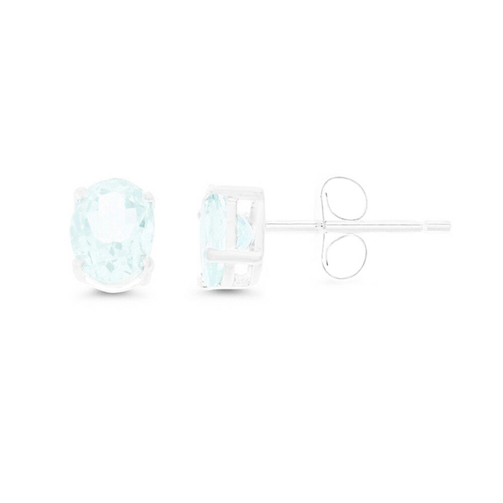 14KT WHITE gold - 1.31CTW 5 X 7 MM. OVAL GENUINE NATURAL AQUAMARINE EARRINGS