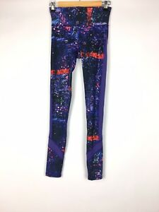 Champion-Womens-Vapor-Leggings-Printed-Purple-Full-Length-Bottoms-Size-XS