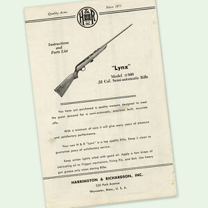 H&R LYNX 800 .22 RIFLE INSTRUCTIONS PARTS OWNERS MANUAL MAINTENANCE