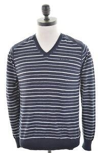 Jack Jones Mens V Neck Jumper Sweater Small Black White Stripes