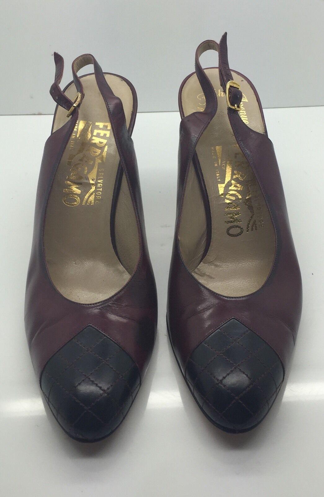 Salvatore Ferragamo rouge bordeaux en cuir matelassé noir bout Slingback Heels 8 3 A