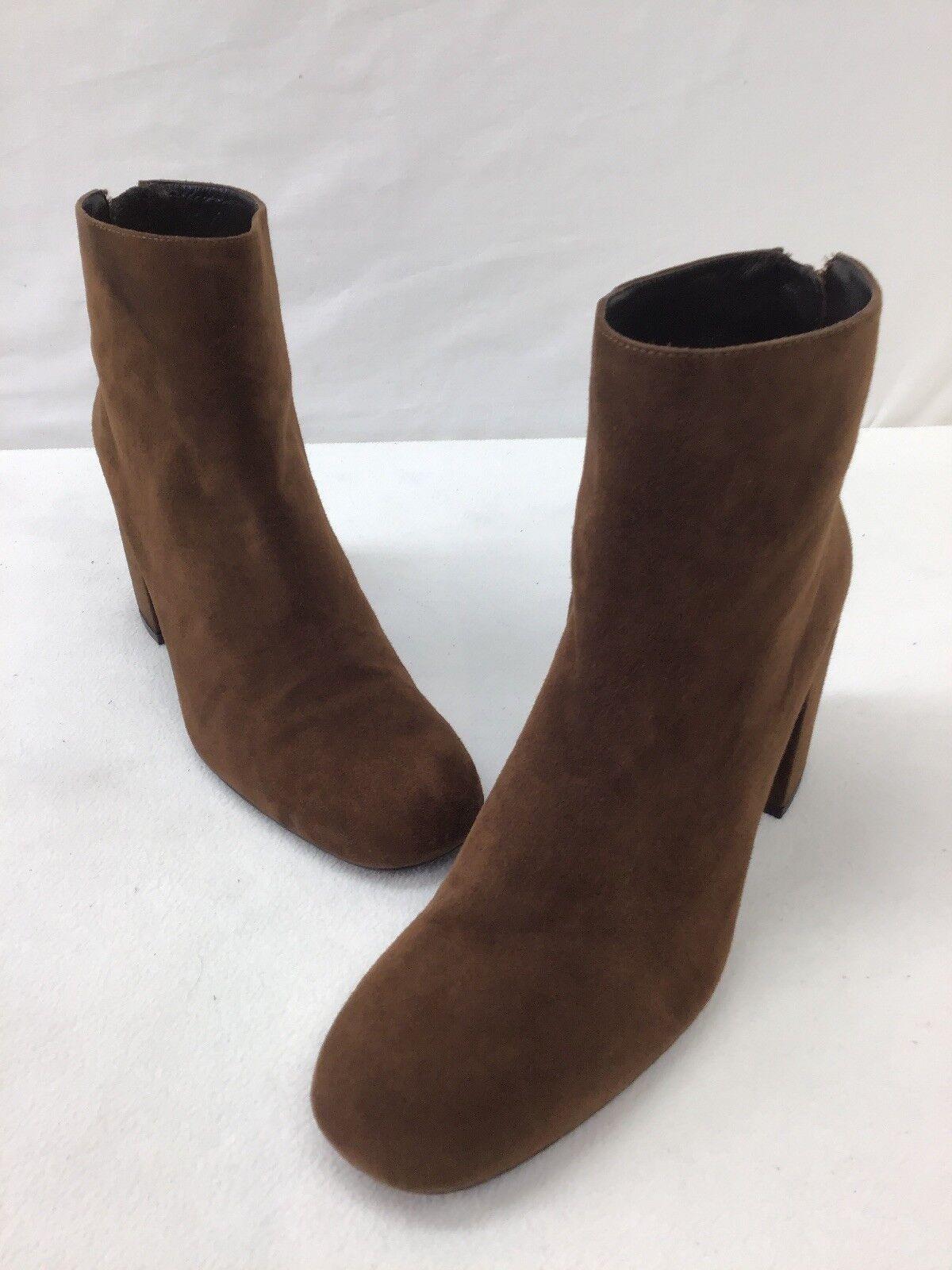Stuart Weitzman Bacari Walnut Suede Heeled Booties Size 10.5M  H178