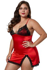 nouveau concept 35945 b9cae Détails sur Nuisette satin rouge dentelle noire sexy glamour pinup grande  taille XL 2XL 3XL
