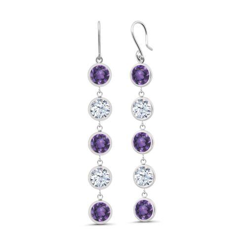 3.78 Ct Round Purple Amethyst 925 Sterling Silver Earrings
