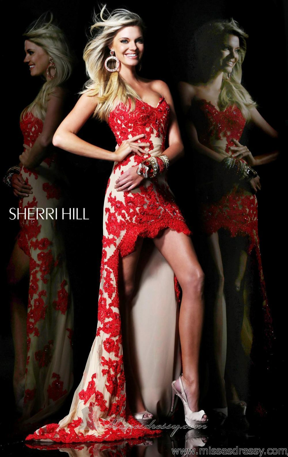21016 Sherri Hill Hi Lo Red Nude Lace Evening Formal Formal Formal Prom Gown Dress Size USA 2 a3d8d7
