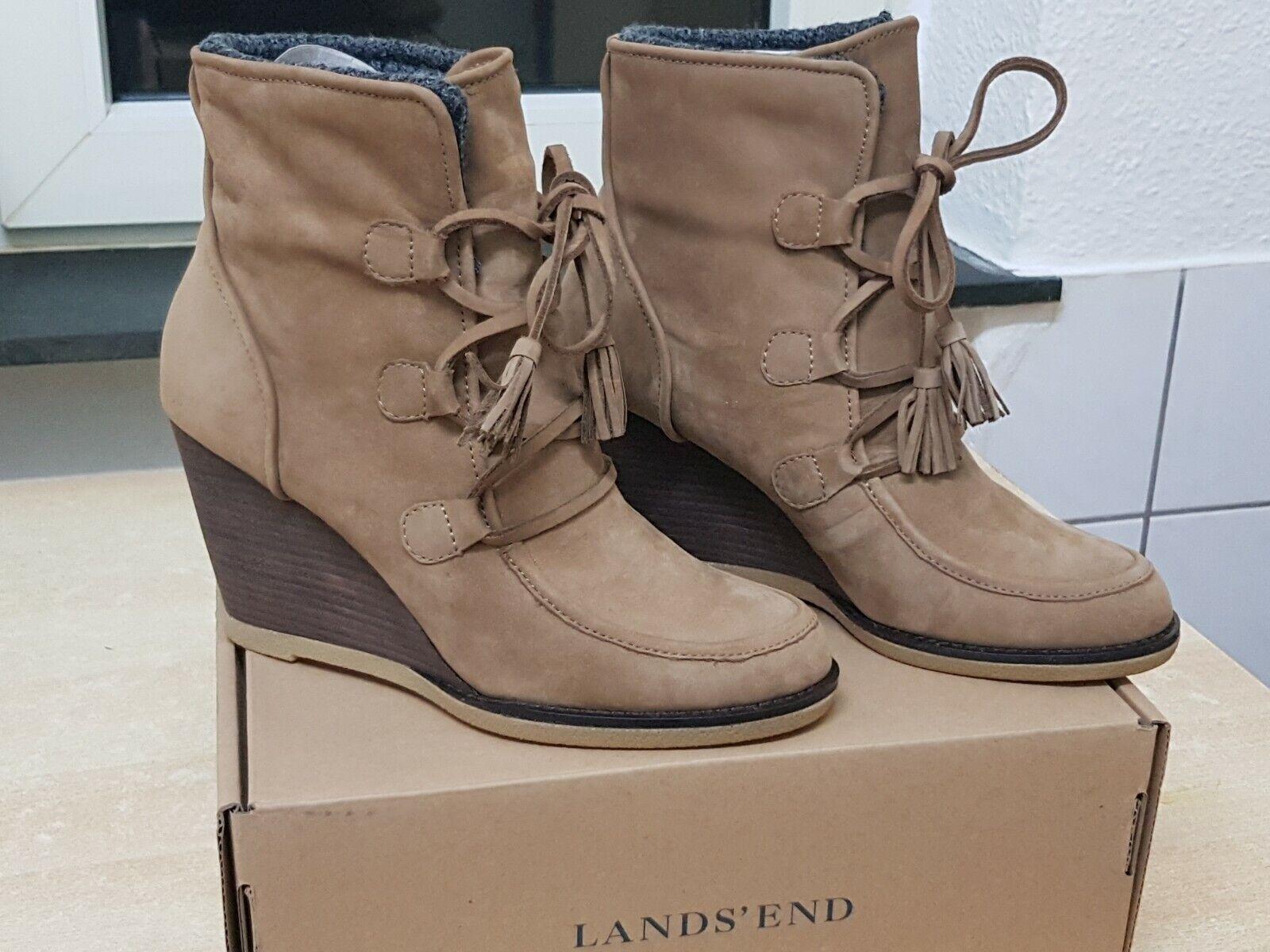 Lands´End Schuhe Stiefel Stiefeletten Stiefel Keilabsatz Gr. 40 Neu mit Karton