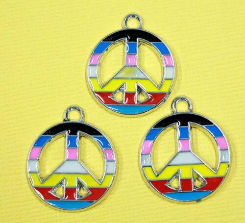 5 Peace Sign Enamel Charms Rainbow Colors E019