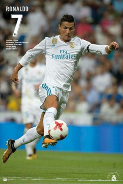4613ee0a56 Cristiano Ronaldo CR7 Real Madrid Soccer Poster Season 2017 - 2018 Brand New