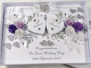 Details About Handmade Personalised Card Wedding Day Anniversary Engagement Gift Box