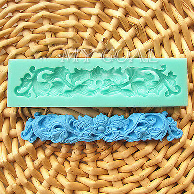Baroque Flower Lace Sculpture Silicone Fondant Mould Cake Decorating Baking Mold