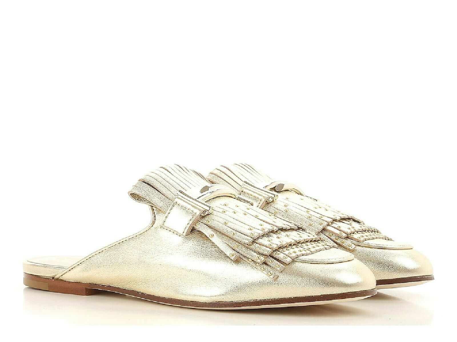 Tod's women's flat slippers sandals shoes in gold metallic leather Size UK3-IT36