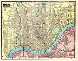 1906 Antique CINCINNATI Map Original Map Cincinnati Ohio Gallery
