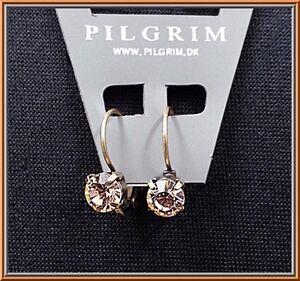 NEW-PILGRIM-DENMARK-16K-GOLD-PLATED-HOOP-EARRINGS-DELICATE-SWAROVSKI-CRYSTALS