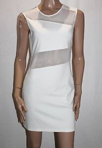 Cotton-Candy-Designer-White-Mesh-Inset-Bodycon-Dress-Size-L-BNWT-TE57
