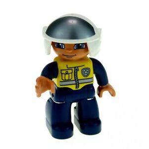 1x-Lego-Duplo-Figur-Mann-Polizist-Hose-dunkel-blau-Weste-gelb-Helm-47394pb138