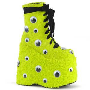 Demonia SLAY-206 Lime Green Faux Fur Platform Lace-Up w/ Eyes Ankle Boot