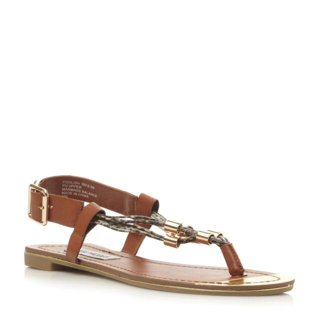 Steve Madden Ladies FOOLISH SM Multi Reptile Strap Toe Post Sandal in Tan