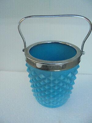 DemüTigen Pressglas Pressed Glass Blau Blue Schale Bowl Eisbehälter Opalin Opak Heller Glanz