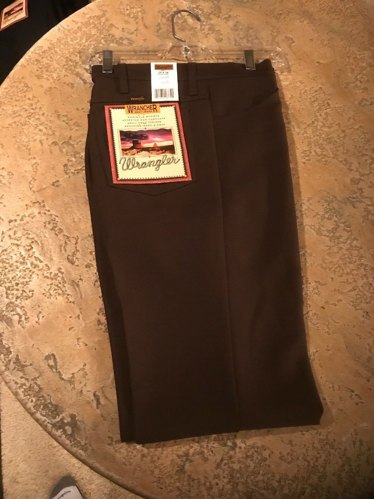 Wrangler USA Mens Brown Wrancher Polyester Pants Dress Jeans 82BN 36x34