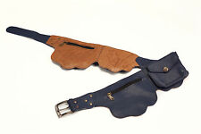 Genuine Leather  pocket belt money bum bag festival travel Dark Blue