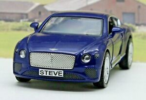 PERSONALISED-PLATES-Gift-Blue-Bentley-Diecast-Model-Boys-Dad-Toy-Car-Present-Box
