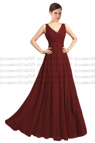 Long Chiffon Bridesmaid Formal Gown Ball Party Dress Cocktail Evening Prom 6-30