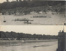 Real photographs x 6 of rowing competition teams on Yarra river by C V Bland