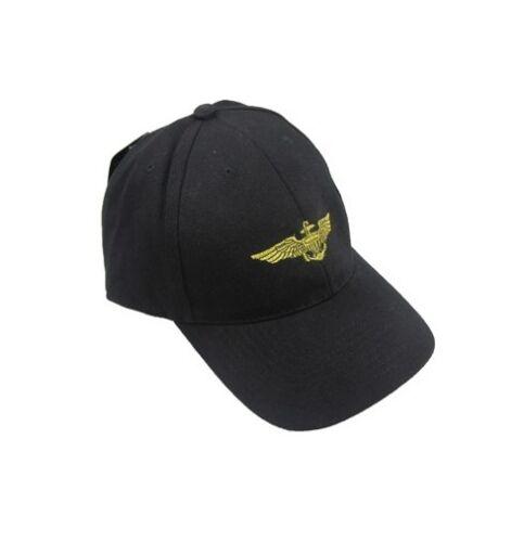 Black US Navy Pilot Wings Baseball Cap Peak Sun Hat American Anchor Military